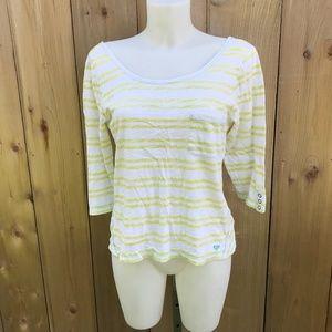 Roxy white/yellow  striped top size Lrg
